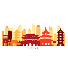 china skyline landmarks colorful silhouette vector image