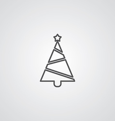 Christmas tree outline symbol dark on white vector image vector image