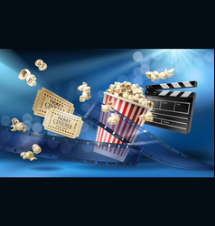 Cinema background with 3d realistic objects vector