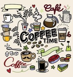 Coffee doodle concept - sketch about time vector