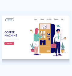 Coffee machine website landing page design vector