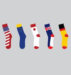 colorful national flag socks vector image