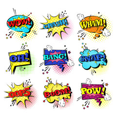 comic speech chat bubble set pop art style sound vector image