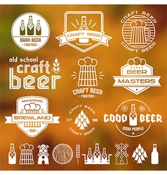 Craft beer brewery emblems blurred vector image