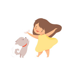 cute girl playing with puppy kid interacting with vector image