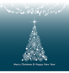 Dark blue Merry Christmas greeting light tree vector image
