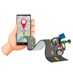 Delivery man riding on road with hand using vector