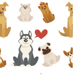 dog types and breeds canine animals seamless vector image
