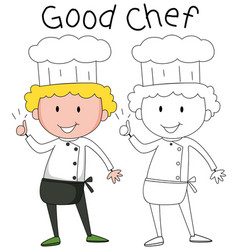 Doodle chef character set vector