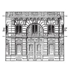 Entresol below a higher floor vintage engraving vector