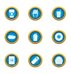 Fatty food icons set flat style vector