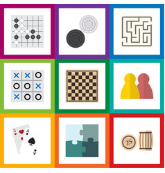 flat icon entertainment set of ace jigsaw vector image