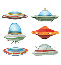 Flying saucer spaceship and ufo set vector