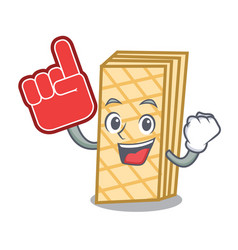 Foam finger waffle mascot cartoon style vector
