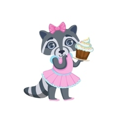 Girl Raccoon With Cupcake vector