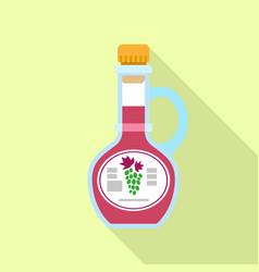 Grape vinegar bottle icon flat style vector