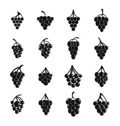 grape wine bunch icons set simple style vector image
