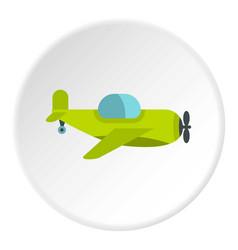 Green toy plane icon circle vector