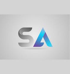 Grey blue alphabet letter sa s a logo icon design vector