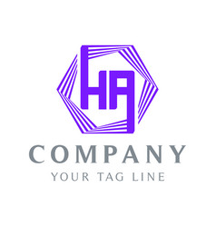 ha-shaped ha logo purple vector image