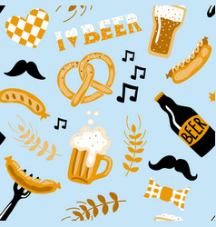hand drawn doodle style beer seamless pattern vector image