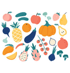 hand drawn fruits and vegetables doodle organic vector image