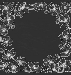 Hand drawn spring flowers frame for text vector