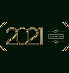 Happy new year 2021 gold artdeco line frame banner vector