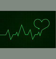 Heartbeat cardiogram graph green line in heart vector