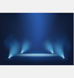 Illuminated stage with bright lights template vector