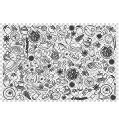 Indian food doodle set vector