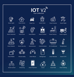 Internet things icon set symbols for iot vector