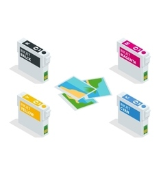 Isometric CMYK set of cartridges for ink jet vector
