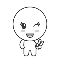 Kawaii doll happy facial expression icon vector