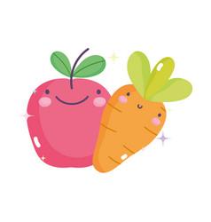 kawaii gardening cartoon happy apple and carrot vector image