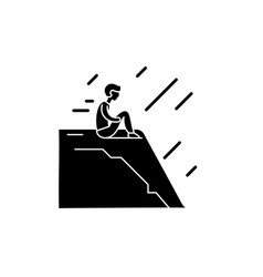 loneliness black icon sign on isolated vector image