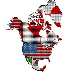 Map of north america with countries vector
