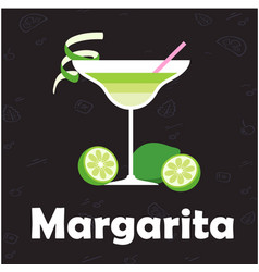 margarita glass of cocktail lemon background vector image