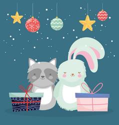merry christmas celebration cute rabbit raccoon vector image