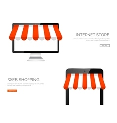 Monitor and tablet Online vector image