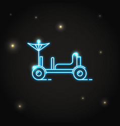 Neon lunar rover icon in thin line style vector
