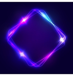 Neon sign Square glowing light banner with space vector image