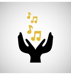 note music musical hand holding vector image