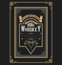 Old vintage whiskey label design vector