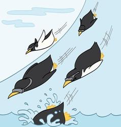 Penguins Sliding Downhill vector image