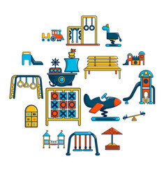 playground equipment icons set cartoon style vector image