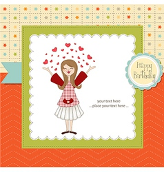Pretty girl birthday card vector