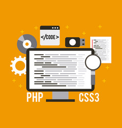 Programming and coding concept website development vector