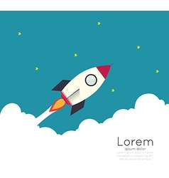 Rocketship on computer for startup media vector image