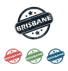 Round Brisbane city stamp set vector